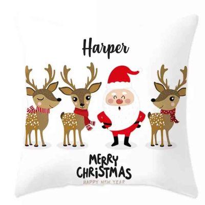 PRE-ORDER: Personalised Santa & Reindeer Cushion Cover