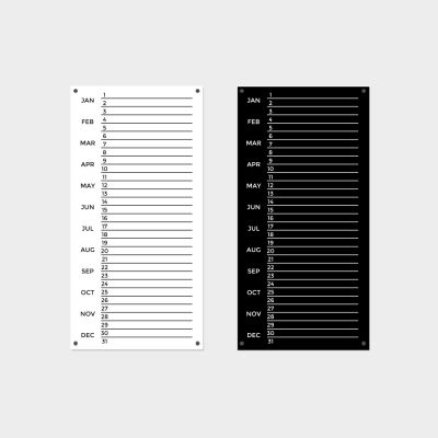 Black or White Monthly Planner - 30 x 60cm Portrait