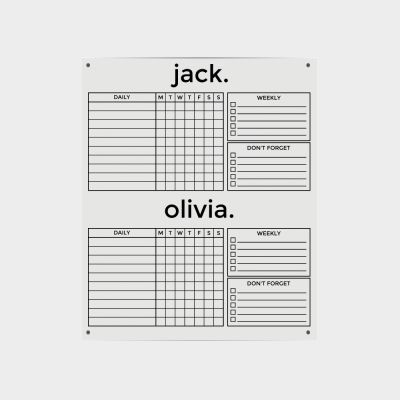 Clear Acrylic Two Name Chore Planner