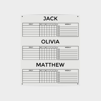 Clear Acrylic Three Name Chore Planner