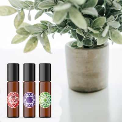 Chakra Essential Oil Roller Bottle & Cap Label Set of 7