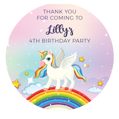 Personalised Unicorn Round Thank you Stickers